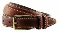 "Genuine American Bison Leather Dress Belt - Brown1-1/8"" wide *Made in USA* $49.95"