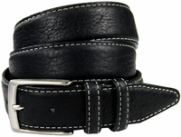 "Genuine Bison Leather Dress Belt-Black 1-3/8"" wide *Made in USA*"