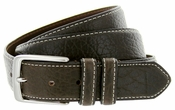 "Genuine Bison Leather Dress Belt-Charcoal 1-3/8"" wide"