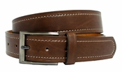 Glen Men's Genuine Leather Dress Belt Brown