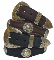Gold Christian Cross Western Leather Belt $49.95