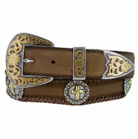 Gold Christian Cross Western Leather Belt