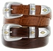 Gold Diamond Italian Calfskin Designer Golf Leather Dress Belt