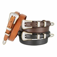 "Gold Edge Men's Genuine Leather Ranger Belt 1-1/8"" taper to 3/4"""