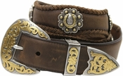 Gold Horseshoe Berry Concho Men's Western Leather Belt