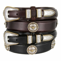 Gold Longhorn Steer Men's Leather Ranger Belt