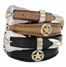 Gold Nocona Star Conchos Western Leather Belt