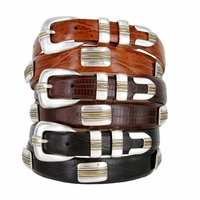 Gold Pebble Beach Men's Italian Calfskin Genuine Leather Designer Belt
