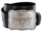 Golden Longhorn Full Grain Leather Western Casual Belt $29.95