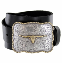 Golden Longhorn Full Grain Leather Western Casual Belt