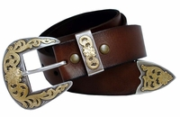 "Golden Western Men's Full Grain Leather Belt 1 1/2"" Wide Western Belt"