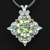 Green Rhinestone Crystal Diamond Shape Concho Necklace