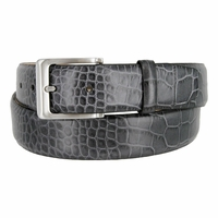 "Grove Genuine Italian Leather Dress Belt 1-3/8"" (35mm) wide - Alligator Gray"
