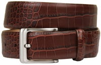 Grove Genuine Italian Leather Dress Belt-Alligator Brown $39.95