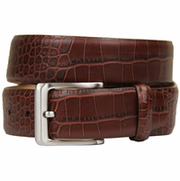 Grove Genuine Italian Leather Dress Belt-Alligator Brown
