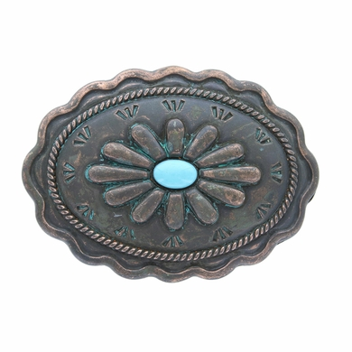 h8389 2 turquoise inlay flower patina buckle fit s 1 3 8