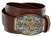 New Orleans Western Tooled Full Grain Leather Belt