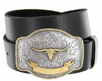 HA0435 Gold Longhorn Golden Trophy Western Full Grain Leather Belt $27.95