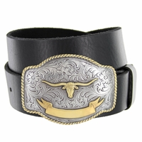 HA0435 Gold Longhorn Golden Trophy Western Full Grain Leather Belt