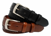 "Hampton Woven Leather Men's Belt 1 3/8"" Wide $25.95"