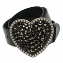 "Heart Jet Swarovski Rhinestone Crystal Leather Womens Belt 1 1/2"" Wide"