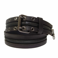 """Heroes Black Leather With Zipper Belt 1 1/2"""" Wide"""