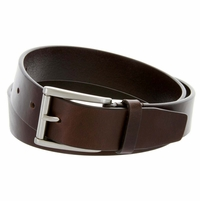 "HJ-2 Roller Buckle Italian Oil Tanned Cowhide Leather Belt 1-1/4"" Wide - Brown"