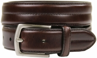 "HJ-20 30mm Italian Oiled Tanned Cowhide Belt 1 1/8"" Wide Belt -Dark Brown"