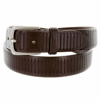 "HJ-3 Italian Oil Tanned Cowhide Leather Belt 1-1/4"" Wide - Brown"