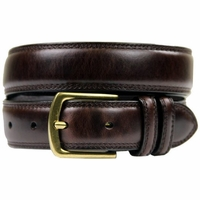 "HJ-9 Italian Oil Tanned Cowhide Leather Belt 1 1/8"" Wide - Dark Brown"