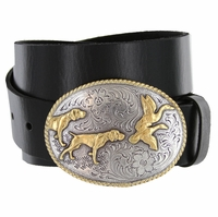 "Hunting Dogs Western Cowboy Full Grain Leather Belt 1-1/2"" wide"