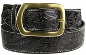 "Jefferson Western Embossed Genuine Leather Casual Jean belt 1 1/2"" wide-Black"