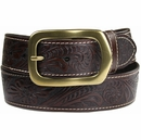 "Jefferson Western Embossed Genuine Leather Casual Jean belt 1 1/2"" wide-Dark Brown"