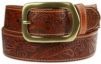 "Jefferson Western Embossed Genuine Leather Casual Jean belt 1 1/2"" wide-Tan $29.50"