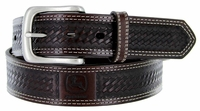 John Deere Men's Basketweave Embossed Casual Jean Belt - Dark Brown