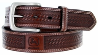 John Deere Men's Basketweave Embossed Casual Jean Belt - Tan