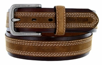 John Deere Men's CrazyHorse Leather Center Strip Belt