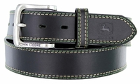 "John Deere Men's Leather Casual Jean Belt 1-1/2"" - Black"
