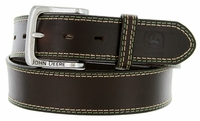 "John Deere Men's Leather Casual Jean Belt 1-1/2"" - Brown"