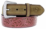 John Deere Women's Western Leather Rhinestone Buckle Belt