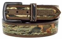 John Deere Men's Fabric Camouflage Leather Belt 1-1/2""