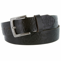 Jordan Western Engraved Buckle Full Leather Belt 1-1/2 inch (38mm) Black