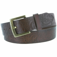 Jordan Western Engraved Buckle Full Leather Belt 1-1/2 inch (38mm) Brown