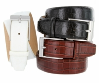 "Justin Men's Italian Alligator embossed Calfskin Leather Dress Belt 1-3/8"" (35mm)Wide"