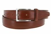 K727/35 Men's Italian Leather Dress Casual Belt 1-1/8 Wide Made in Italy - Marrone (Brown)