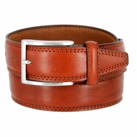 K727/35 Men's Italian Leather Dress Casual Belt 1-3/8 Wide Made in Italy - Marrone (Brown)