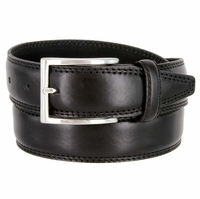 "K727/35 Men's Italian Leather Dress Casual Belt 1-3/8"" Wide Made in Italy - Nero (Black)"