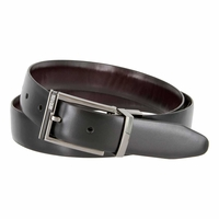 """Kenneth Cole Reaction 1-1/4"""" (32mm) Feathered Edge Reversible Belt - Black/Brown"""
