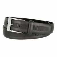 LA1130 Herringbone Embossed Leather Belt Black