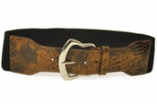 Ladies Stretch Belt with Brown Croco Print Tab